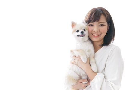 Woman having a dog