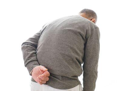 Aged man suffering from backache