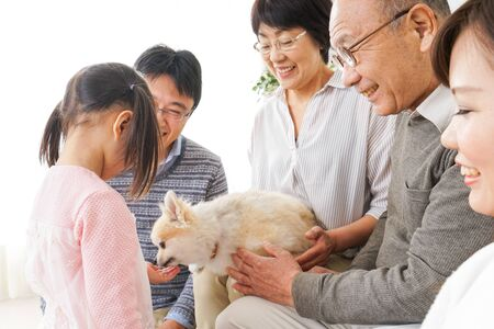 Three-generation family taking care of dog Stock Photo