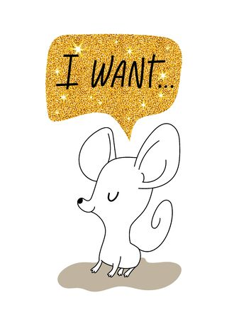 Little mouse is dreaming, greeting card for your design, vector illustration 10eps