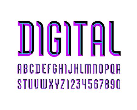 Digital alphabet of bright color, sans serif font, futuristic colored letters and numbers, vector illustration for your design  イラスト・ベクター素材