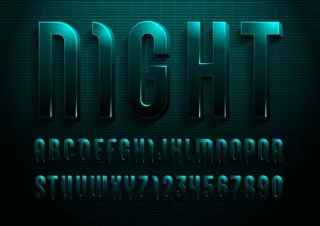 3d font from dark jade color, trendy gloomy alphabet sans serif, modern letters and numbers for your calendar, flyer, poster, banner, vector illustration 10eps.