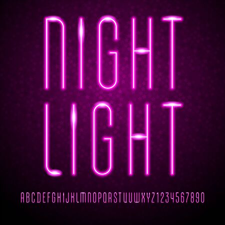 Trendy font, vibrant modern alphabet, neon colored letters and numbers, vector illustration 10eps