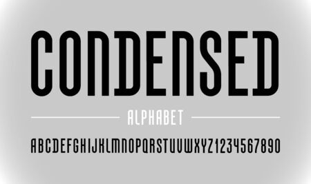 High font, trendy condensed alphabet sans serif, modern black letters and numbers, for your designs