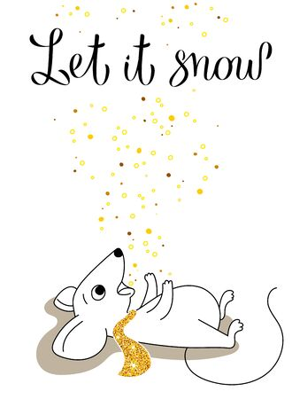Little mouse catches snowflakes by mouth, greeting card for your design, vector illustration 10eps