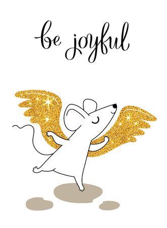Little mouse is joyful, greeting card for your design, vector illustration 10eps Illustration
