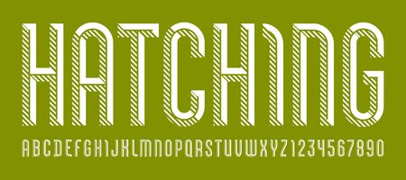Font from hatching line, trendy simple alphabet sans serif, modern condensed white letters and numbers  イラスト・ベクター素材