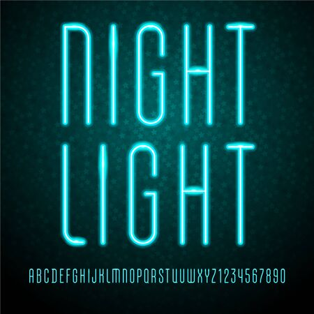 Trendy font, vibrant modern alphabet, neon colored letters and numbers
