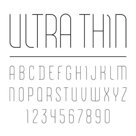Font from ultra thin line, trendy simple alphabet sans serif, modern condensed black letters and numbers