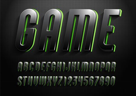 3d font from dark gradient, trendy gloomy alphabet sans serif, modern condensed letters and numbers for your calendar, flyer, poster, banner