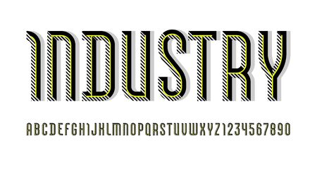 Industry font, trendy striped alphabet sans serif, modern condensed letters and numbers with yellow line, for your calendar, flyer, poster, banner, vector illustration  イラスト・ベクター素材
