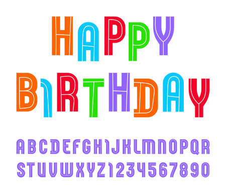 High font with condensed bold alphabet sans serif. colored letters and numbers.