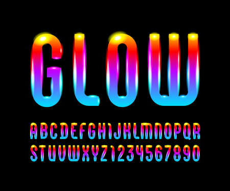 Glowed font with trendy bright alphabet, modern vibrant letters and numbers. vector illustration  イラスト・ベクター素材