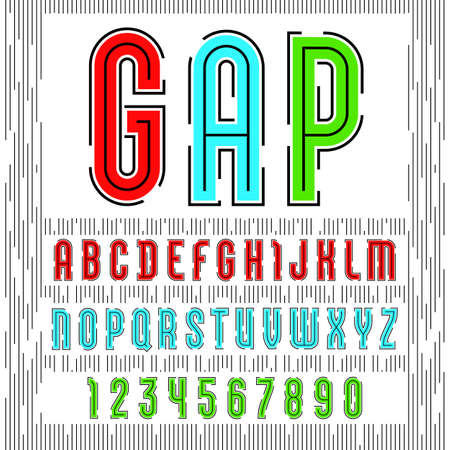 Alphabet with gap with sans serif font, futuristic colored letters and numbers.  イラスト・ベクター素材