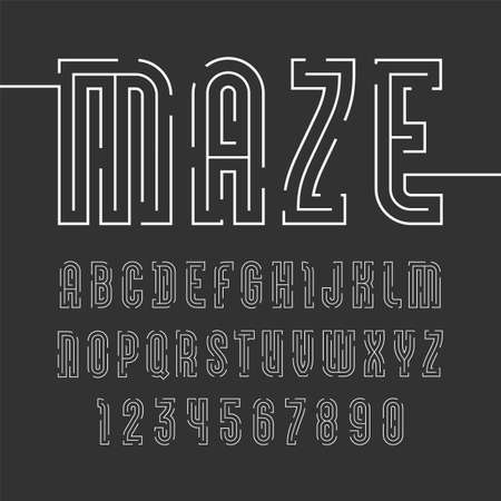 Font from thin line with trendy simple alphabet sans serif, modern white letters and numbers for your logo.  イラスト・ベクター素材