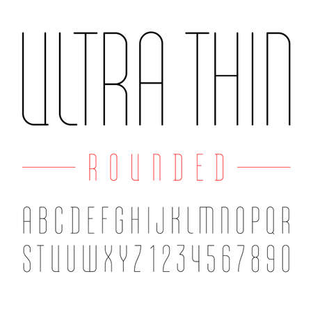 Font from rounded ultra thin line with trendy simple alphabet sans serif, modern condensed black letters and numbers.