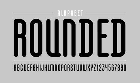 High font, rounded condensed alphabet sans serif, long black letters and numbers for your designs.