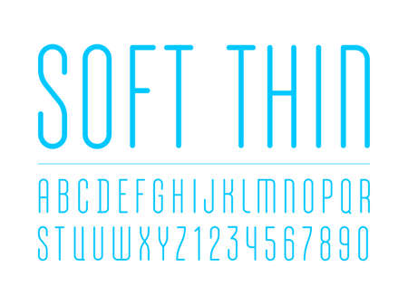 High thin font with trendy condensed alphabet sans serif, modern blue rounded letters and numbers for your design.