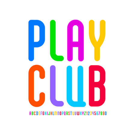 Kids playful font with alphabet in the cartoon style. multicolored bright rounded letters and numbers in modern high condensed book symbols.  イラスト・ベクター素材