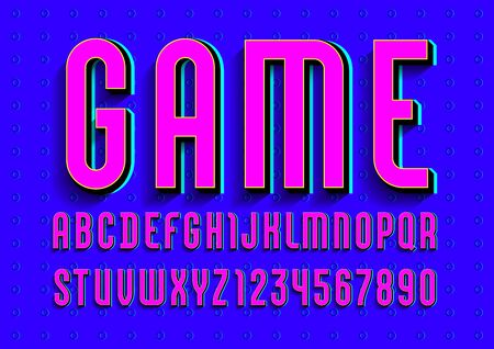 Font from pink color, trendy bright alphabet, modern condensed letters and numbers for your design, vector illustration.