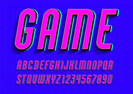 Font from pink color with trendy bright alphabet sans serif. modern condensed letters and numbers for your calendar, flyer, poster, banner, vector illustration.