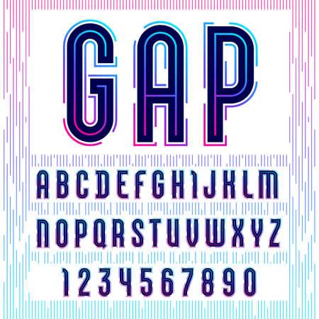 Alphabet with gap, sans serif font, futuristic gradient letters and numbers. Banco de Imagens - 151096845