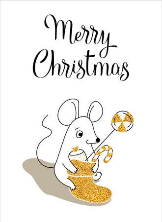 Mouse with christmas sock, greeting card for your design, vector illustration 10eps Çizim