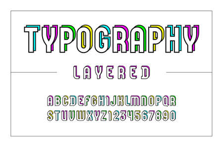 High font, bold layered alphabet sans serif, letters and numbers  イラスト・ベクター素材