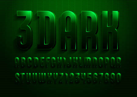 3d font from dark green color, trendy gloomy alphabet sans serif, modern letters and numbers for your calendar, flyer, poster, banner.