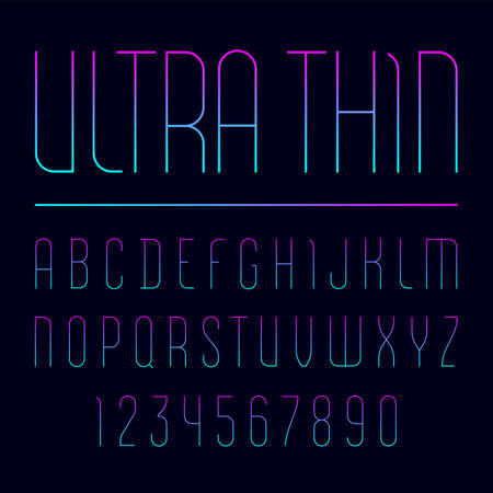 Font from ultra thin line, trendy simple alphabet sans serif, modern condensed letters and numbers  イラスト・ベクター素材