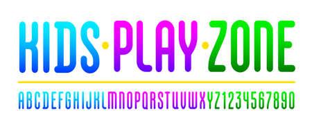 Kids playful font, trendy colorful alphabet, Latin letters (A, B, C, D, E, F, G, H, I, J, K, L, M, N, O, P, Q, R, S, T , U, V, W, X, Y, Z) and Arabic numerals (0, 1, 2, 3, 4, 5, 6, 7, 8, 9)