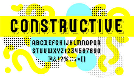 Constructive font, trendy 3d alphabet sans serif, modern condensed letters and black numbers, vector illustration for prints, posters, flyers, banners, invitations and more, vector illustration