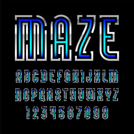 Font from bold line name is Maze, trendy metallic alphabet sans serif, modern silver letters and numbers