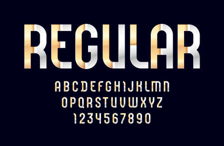 Hi-tech metallic font, bright modern alphabet, trendy letters and numbers made of silver and golden parts