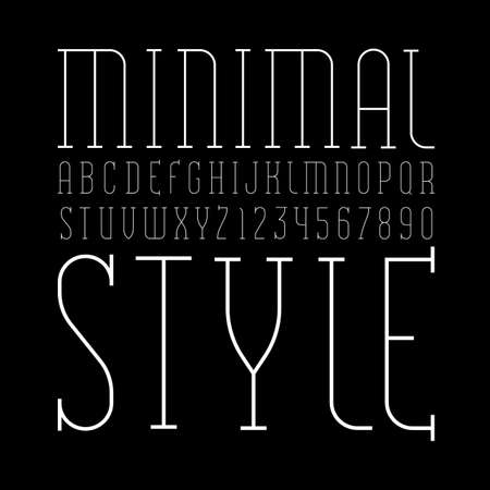 Font from ultra thin white line, trendy simple alphabet, modern condensed letters and numbers, vector illustration 10EPS Иллюстрация