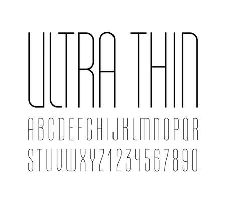 High font, condensed tall ultra thin alphabet sans serif, trendy uppercase Latin letters from A to Z and Arab numbers from to 9 for you designs, vector illustration 10EPS