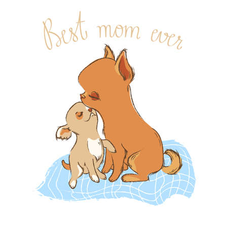 Little dog with mom illustration with phrases in sketch style, funny vector with cute pets, can be used for your design or print t-shirt or textile, fabric somewhere