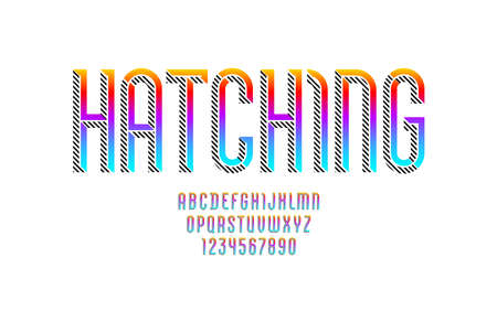 Hatched font, trendy striped alphabet with gradient color, modern condensed Latin letters from A to Z and Arab numbers from to 9, vector illustration 10EPS