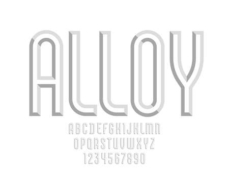 Gray alphabet from chiseled block, font with effect of 3D, beveled letters and numbers, vector illustration 10EPS