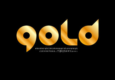 Golden chic font, rounded metallic alphabet, trendy lowercase letters from A to Z and numbers from 0 to 9, vector illustration 10EPS