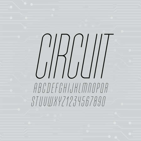 High ultra thin font, condensed tall alphabet , uppercase italic letters and numbers, vector illustration