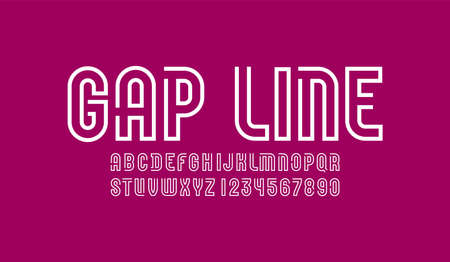 Font from white line with gap, trendy simple alphabet sans serif, modern letters and numbers