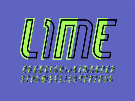 Trendy font, urban modern alphabet, italic letters made of green outline and lime pieces