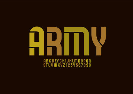 Stencil army font, condensed military alphabet, modern letters and numbers Çizim