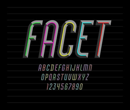 Font from facet, colored alphabet from chiseled block, bevel Latin italic letters from A to Z and Arab numbers from 0 to 9