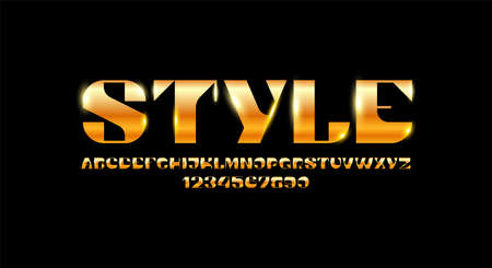 Trendy golden font, elegant fashion alphabet, luxury letters and numbers Çizim