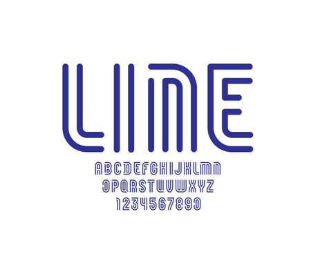 Font from blue line with gap, trendy simple alphabet sans serif, modern letters and numbers