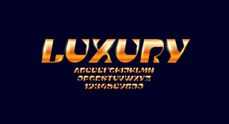 Elegant fashion golden font, trendy alphabet, luxury italic letters and numbers Çizim