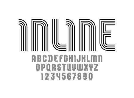 Trendy striped font, black alphabet from lines, capital Latin letters from A to Z and Arab numbers from 0 to 9 Çizim