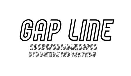 Font from black line with gap. Trendy modern alphabet sans serif, letters and numbers vector illustrator.